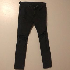 Profound Aesthetic Black Distressed Skinny Jeans